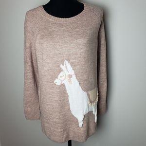 LC Lauren Conrad Lama Oversized Cream Sweater L